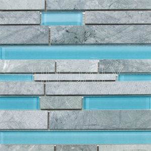 Random Brick Marble and Glass Mosaic Tile, Mixed Blue at TileDaily
