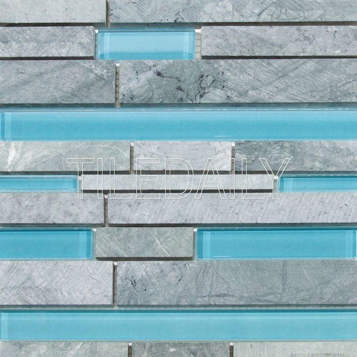 Random Brick Marble and Glass Mosaic, MixBlue