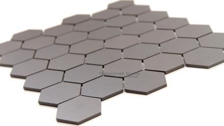 Hexagon Matte Porcelain Mosaic, Dark Grey