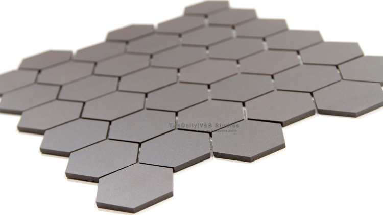 Unglazed Hexagon Porcelain Mosaic Tile. Wall & Floor Tile