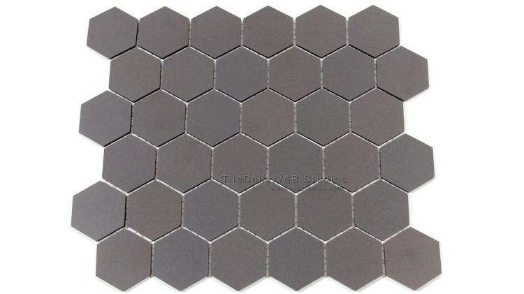 "2"" Unglazed Hexagon Porcelain Mosaic Tile. Wall & Floor Tile"