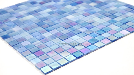 Iridescent Blue Opaque Glass Mosaic