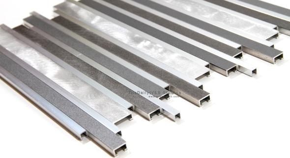 Brushed Aluminium Linear Mosaic, Mix Grey