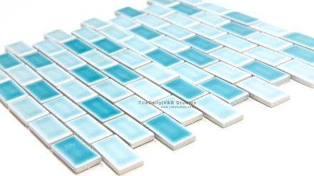 Brick Porcelain Mosaic, Mix Blue