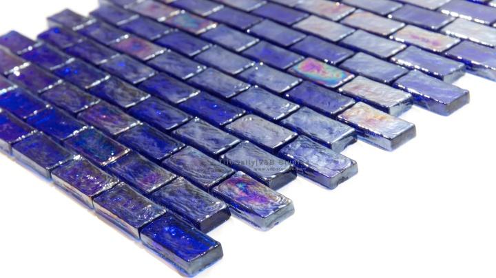 Iridescent Brick Glass Mosaic, CobaltBlue