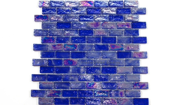 Iridescent Brick Glass Mosaic in Cobalt Blue at TileDaily