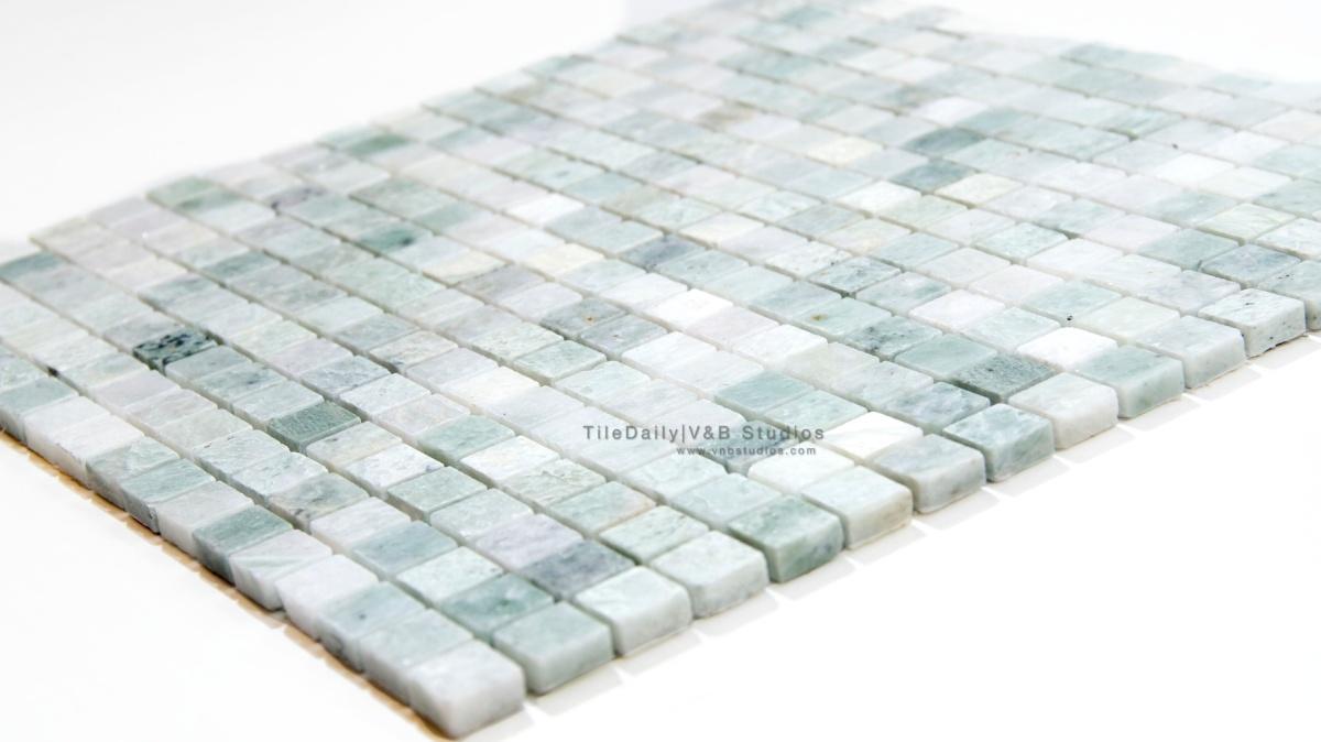 Ming green small square marble mosaic tiledaily dailygadgetfo Choice Image