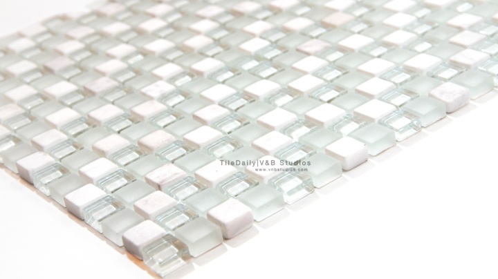 Small Square Marble and Glass Mosaic, WhiteMix