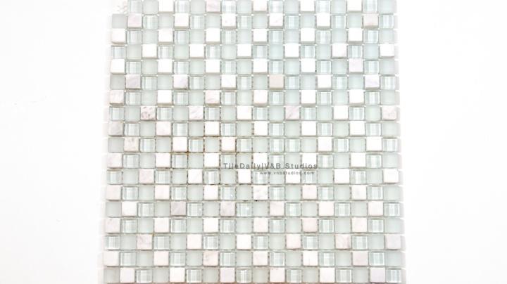 Small Squares Marble and Glass Mosaic, White MixLight Green Glass, Thasos White and White Carrara