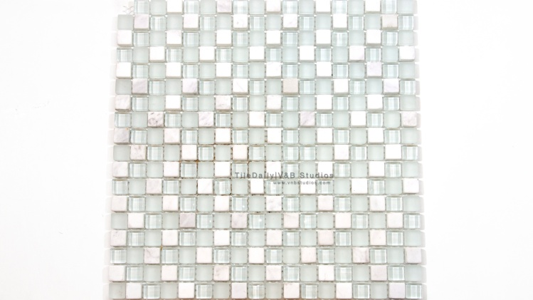 Small Squares Marble and Glass Mosaic, White MixLight Green Glass, Thasos White and White Carrara