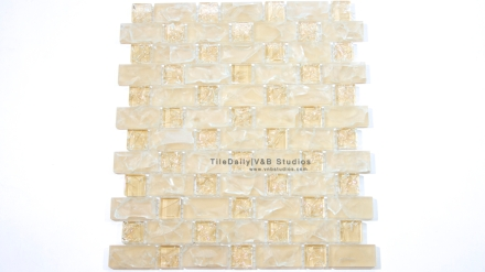 GM0094BG  Light Beige Brick and Square Crackled Glass Mosaic
