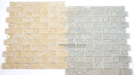 Brick Square Crackled Glass Mosaic