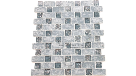 GM0094DBE  Dark Blue Brick and Square Crackled Glass Mosaic