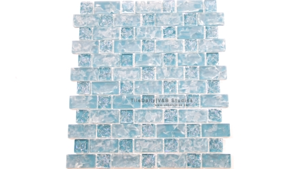 GM0094BE  Turquoise Blue Brick and Square Crackled Glass Mosaic
