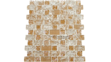 GM0094BN  Brown Brick and Square Crackled Glass Mosaic