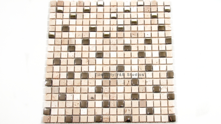 Small Square Travertine and Silver Glass Mosaic