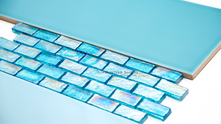 P0035 - Colori Large Subway Tile Mix with Iridescent Turquoise Brick Glass Mosaic