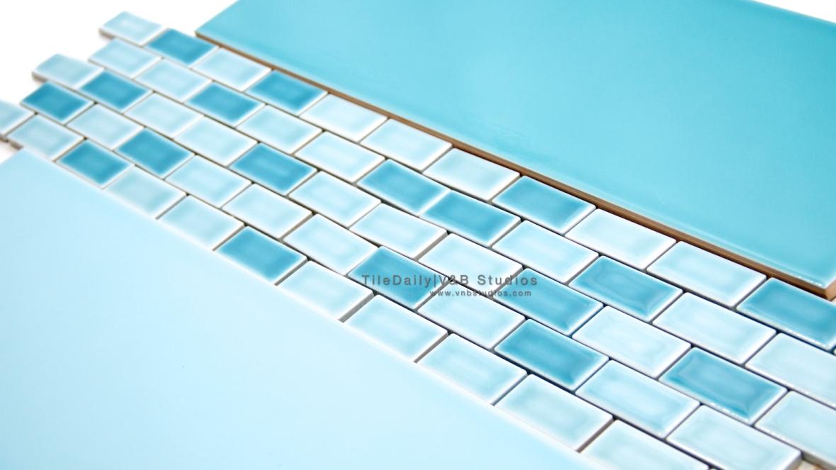 P0035 - Colori Large Subway Tile Mix with Brick Porcelain Mosaic, Mix Blue