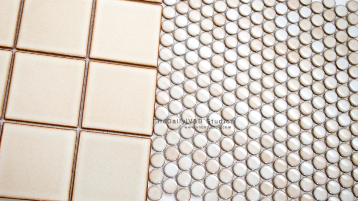 PM0002LE - Latte Penny Round Porcelain Mosaic