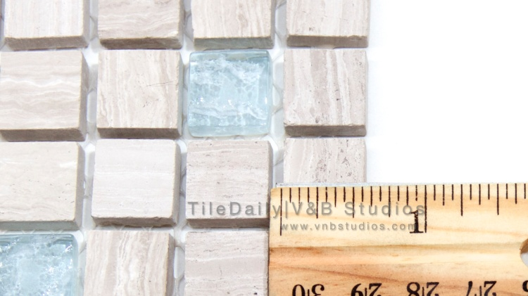 Oak Marble and Glass Small Square Mosaic