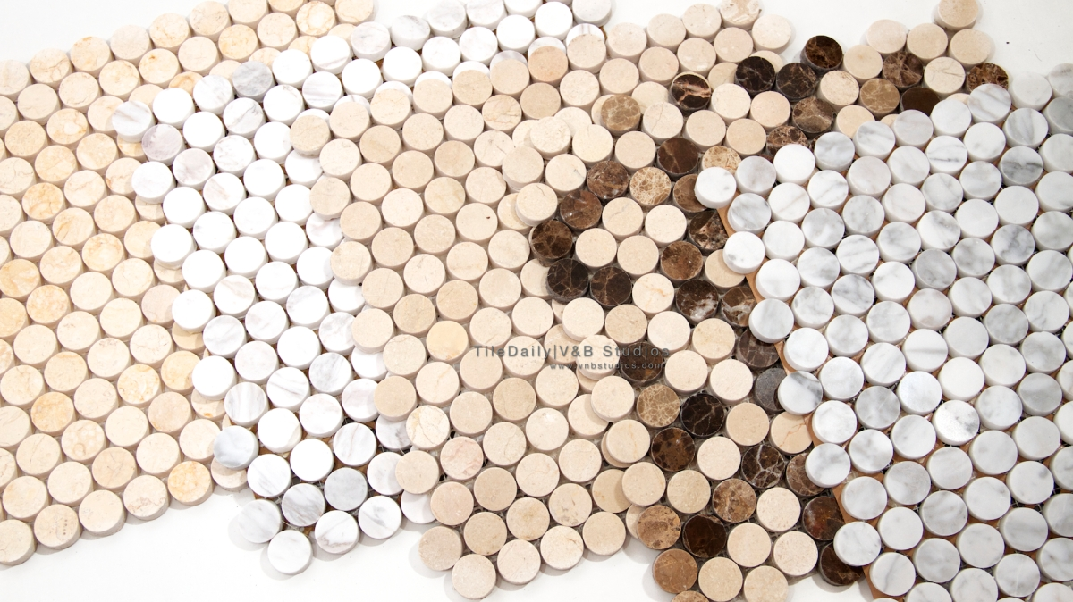 Penny Round Marble Mosaic Tiledaily