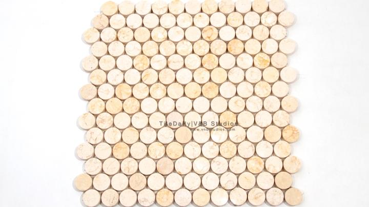 NS0043JG - Penny Round Marble Mosaic, Jerusalem Gold