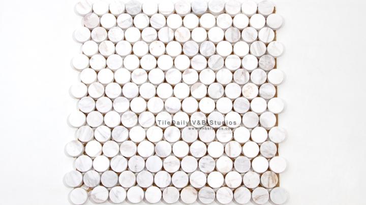 NS0043WC - Penny Round Marble Mosaic, White Carrara