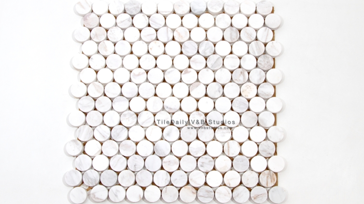 NS0043WC - Penny Round Marble Mosaic, White Carrara