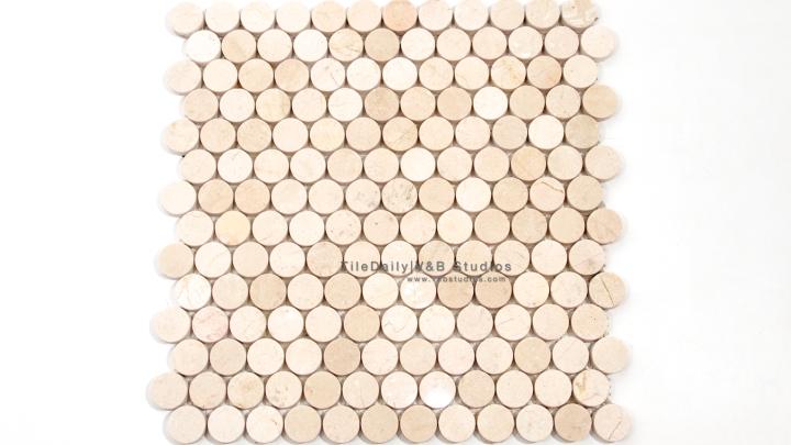 NS0043CM - Penny Round Marble Mosaic, Crema Marfil