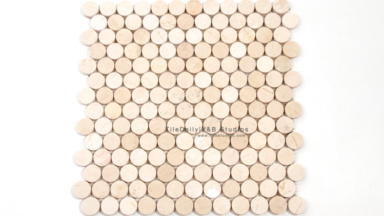 NS0043CM - Penny Round Marble Mosaic, Crema Marfil