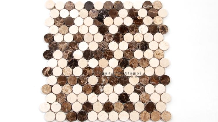 NS0043ED - Penny Round Marble Mosaic, Emperador Dark Mix