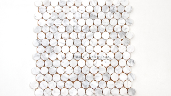NS0043BC - Penny Round Marble Mosaic, Bianco Carrara