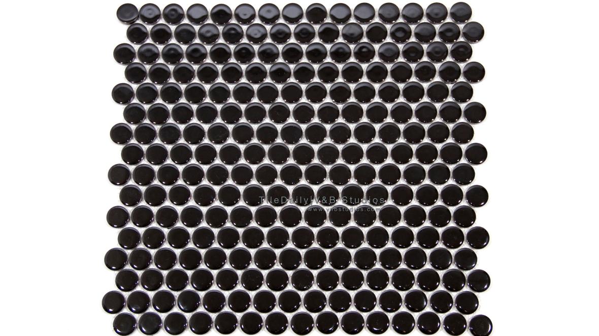 PM0031BK - Penny Round Porcelain Mosaic, Black