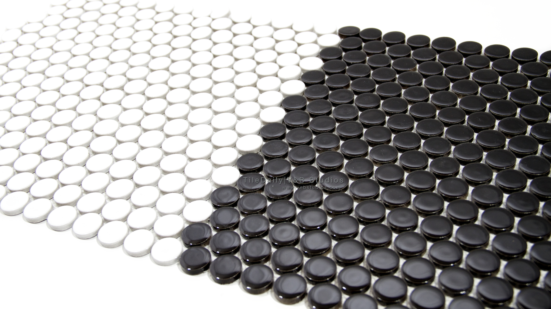 Porcelain Mosaic | tiledaily - Black And White Penny Tile Bathrooms