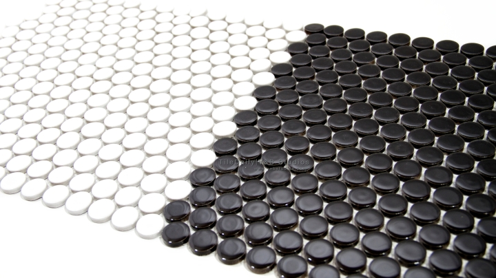 Penny Round Porcelain Mosaic, Black and White