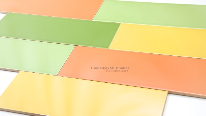 Colori Large Subway Tile, Green, Orange, Yellow