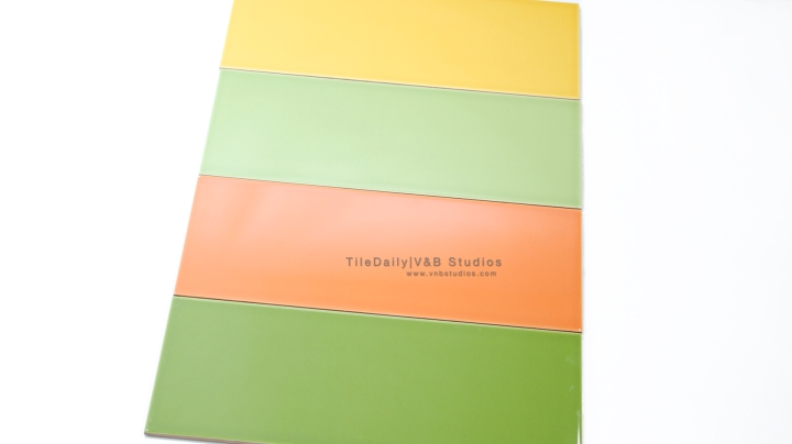 P0035 - Colori Large Subway Tile, Green, Light Green, Orange, Yellow