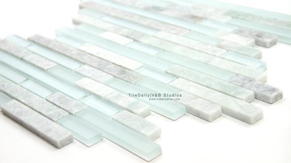 GM0007GN Ming Green Marble and Glass Random Brick Mosaic