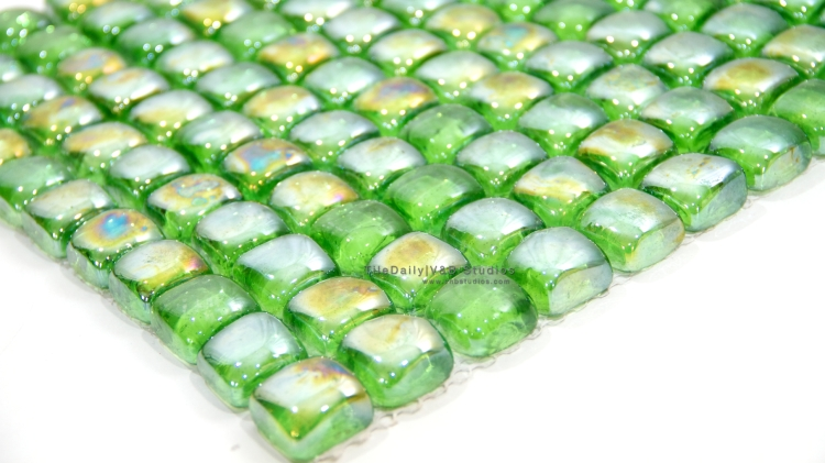 Green Iridescent Glass Cube Mosaic Tile at TileDaily