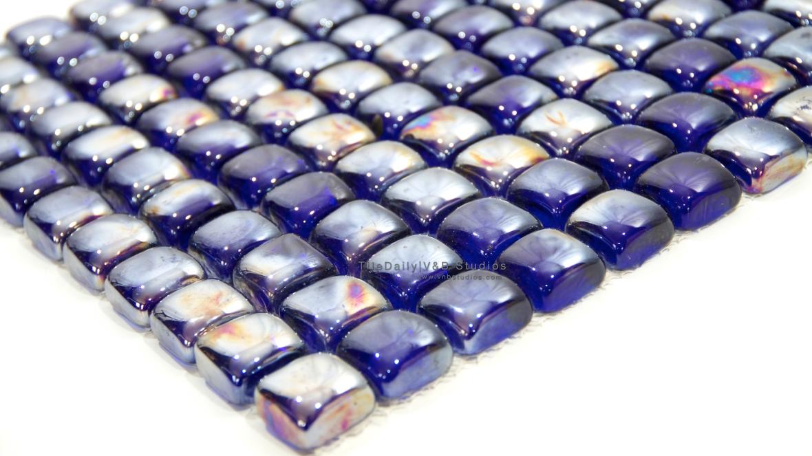 Cobalt Blue Iridescent Glass Cube Mosaic Tile at TileDaily