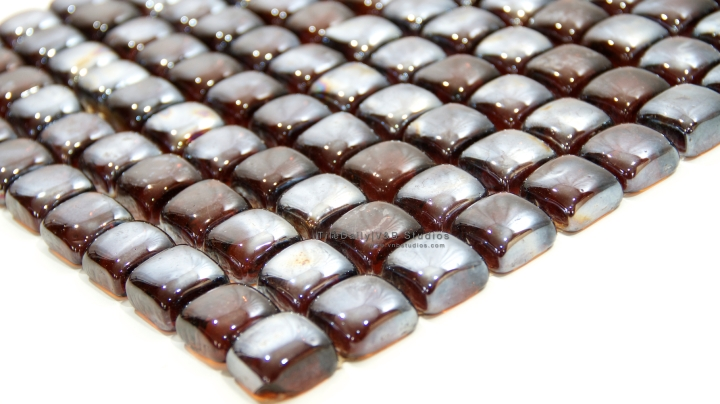 Brown Iridescent Glass Cube Mosaic Tile at TileDaily