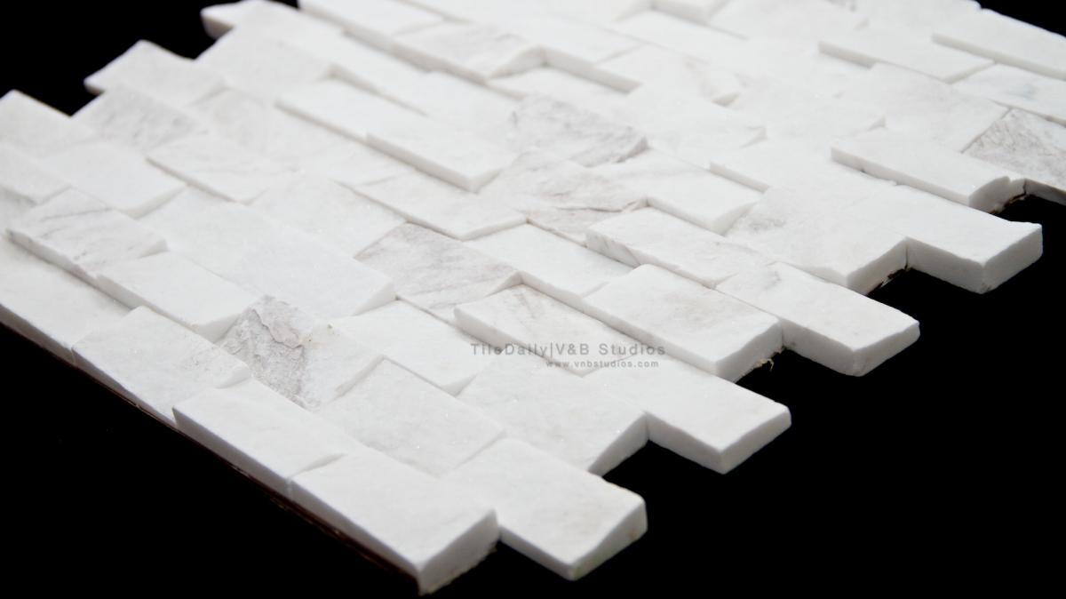 Quartz Brick 1 215 2 Splitface Mosaic White Tiledaily