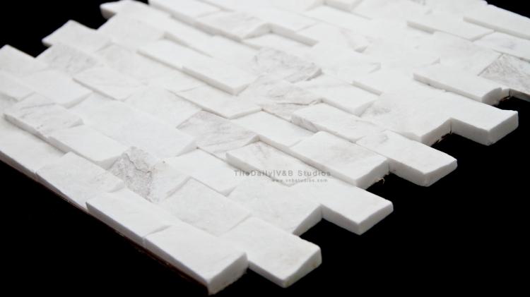 Quartz Brick 1x2 Splitface Mosaic, White