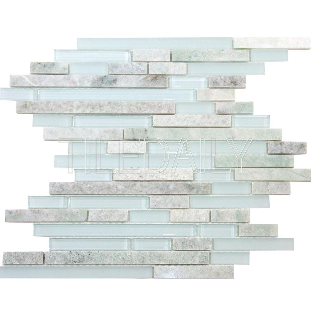 Ming green marble and glass random brick mosaic tiledaily dailygadgetfo Choice Image