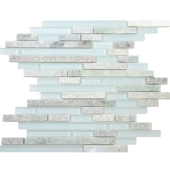 Random Brick Ming Green Marble And Glass Mosaic Tile Available at TileDaily