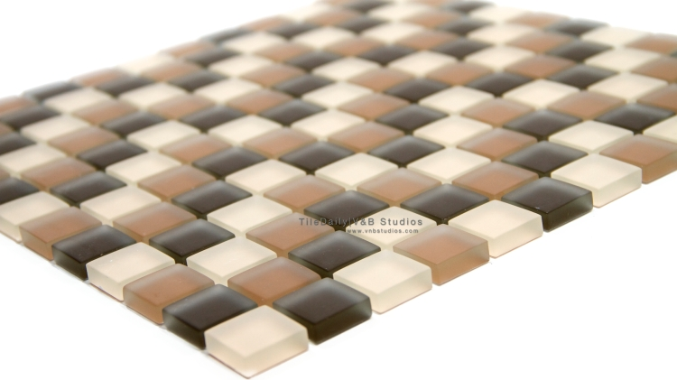 GM0099 - Square Frost Glass Mosaic, Mix Brown SALE $7.00/sq.ft