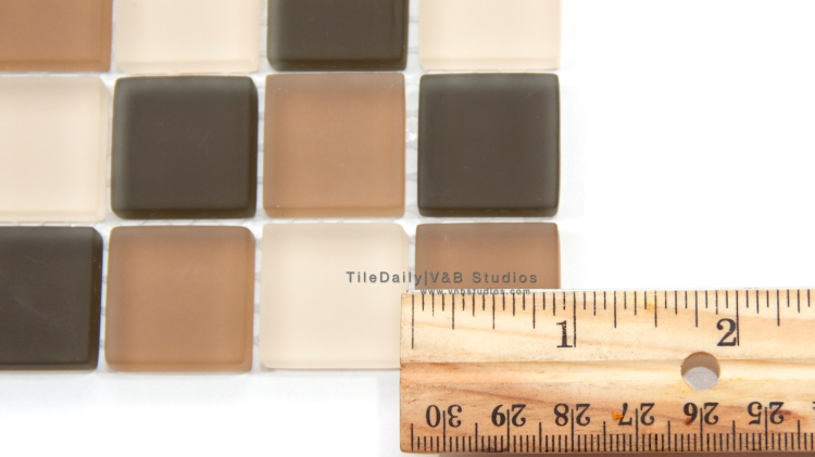 GM0099  - Square Frost Glass Mosaic, Mix Brown