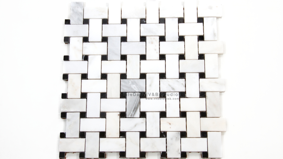 NS0049 - Basket Weave Marble Mosaic, Black and White