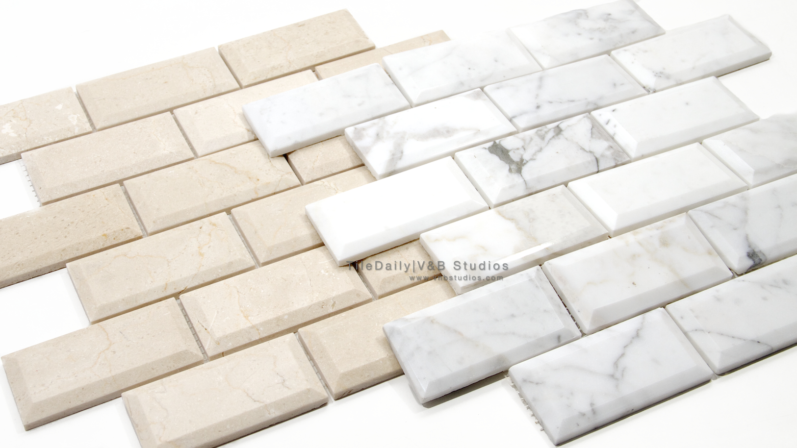 beveled marble brick mosaic 2 colors tiledaily