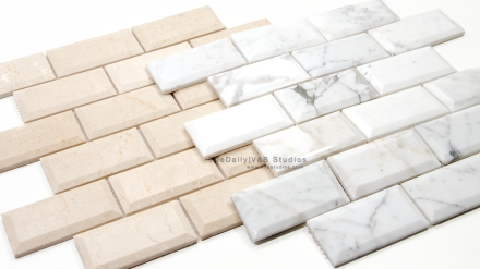Beveled Marble Brick Mosaic, 2 Colors